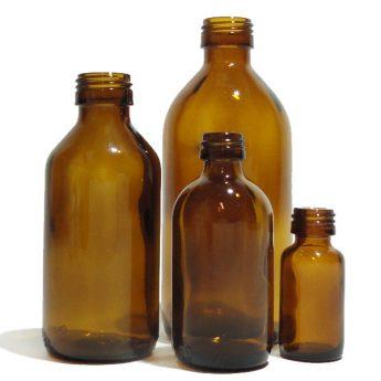 Flacone in vetro brunato con tappo