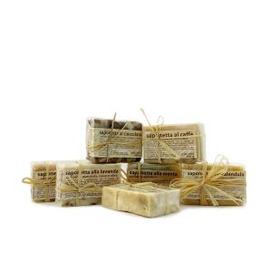 Handmade hemp soap with scrub effect, and wooden soap dish
